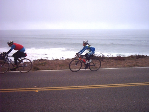 Jim and Mary on Hwy 1 a few miles before Bodega Bay