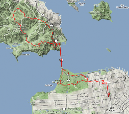 April 2011 solo marathon route map