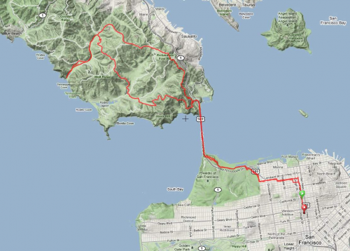 March 2011 solo marathon route map
