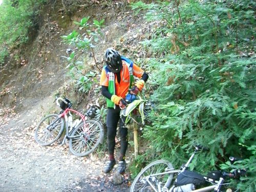 Greg at the Water spigot on Eldridge Grade