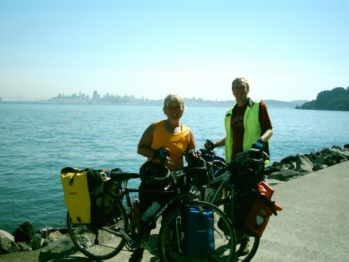 Randy and Nancy in Sausalito, CA. San Francisco in the background