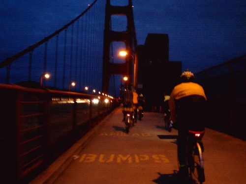 Riding into the Sunsrise on the Golden Gate