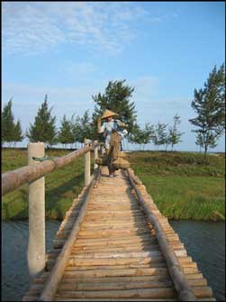Sa Huynh Woman crossing a bridge